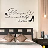 homemay PVC Wandtattoo Aufkleber Englisch MONROE die Welt erobern Right Shoes Schuh Aufkleber Garderobe Home decorwallpaper50cm x 35cm, schwarz, 50 cm x 35 cm