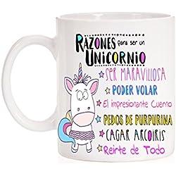 Taza Razones para ser un Unicornio. Taza divertida. Ser maravillosa, pedos de purpurina, cagar arcoiris,impresionante cuerno, poder volar, reirte de todo. Regalo divertido