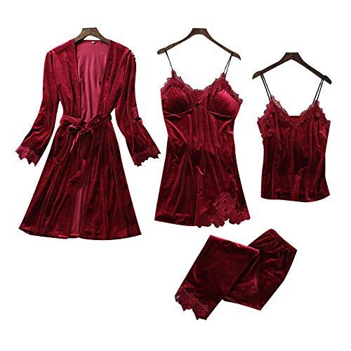 DSBAZ Langarm-Fleece-Pyjama Thermal Lounge Wear Damen-Pyjama 4-teiliges Set Lange Nachtwäsche Sling-Anzug Sexy Gürtel Brustpolster Samt kann getragen Werden (rot, XL)