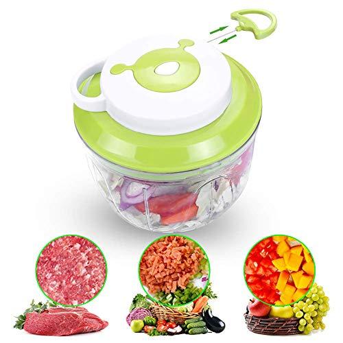 GLXLSBZ Zwiebelschneider,Gemüseschneider | Obst und Gemüse | Zerkleinerer | Multi-Zerkleinerer | Universal-Zerkleinerer | manuelle Handheld Speedy Chopper Mixer, Blue (Hand-held-gemüse-zerkleinerer)