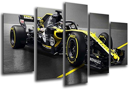 Cuadro Moderno Fotografico Coche Formula 1, Renault R.S.18, Renault F12018, Carlos Sainz, Nico Hulkenberg, 165 x 62 cm, ref. 27110