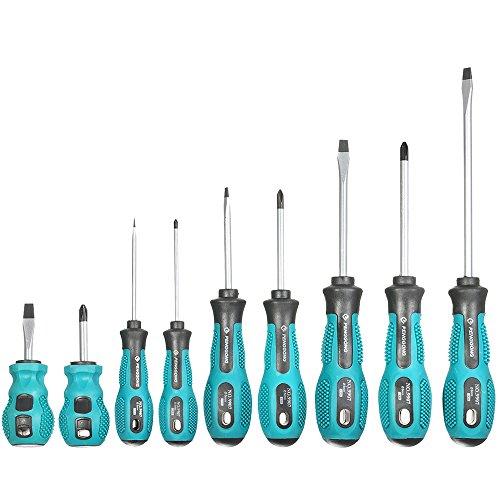 KKmoon 9pcs Multifunktionale Isolierte Schraubendreher Set mit Magnetischen Schlitz und Phillips Bits Elektrische Arbeit Reparatur-Tools Kit
