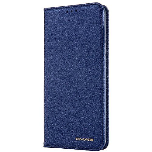 Ledertasche in Bookstyle Magnet Handyhülle mit Karten-Fach Geldschein-Fach Kunst-Leder Hülle Case Flip Cover Schutzhülle Brieftasche Card Holder für Apple Samsung Galaxy S9 Blau