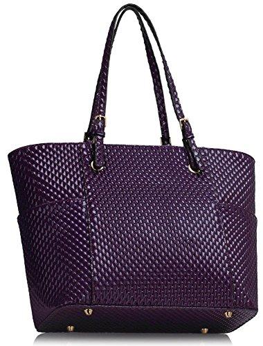 LeahWard® Damen Übergröße Schulter Handtasche Damen Qualität Kunstleder Berühmtheit Käufer Tragetaschen CWS00350 CWS00476 CWS00471 Lila