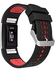 Fitbit Charge 2 Bracelet, MoKo Watch Band de Remplacement ajustable en Silicone Souple pour Fitbit Charge 2 Bracelet d'activité et de suivi de la fréquence cardiaque, Noir + Rouge