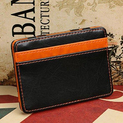 Amlaiworld Mini Unisex Magic Leather Wallet borsa tessera portamonete (blu) arancione