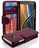 Cadorabo Hülle für Motorola Moto G4 / Moto G4 Plus - Hülle in Bordeaux LILA – Handyhülle mit 3 Kartenfächern - Case Cover Schutzhülle Etui Tasche Book Klapp Style