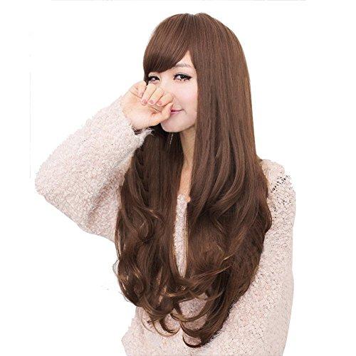 Rokoo Neue lange braune lockige Wellenförmige volle Perücken Partei-Haar Cosplay Lolita Mode für Frauen Perücke (Perücke Braune Lange Haare Halloween)