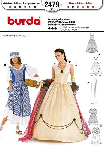 Burda Damen Schnittmuster 2479 Premium-Kaiserin & Washerwoman Kostüme, Größen 36-46