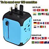 Cube Plug,New Universal Travel USB Adapter Travel Chargers Adapters for Uk/EU/US/AU about 150 Countries Wall Universal Power Plug Adapter Charger with Dual USB and Safety Fuse (Blue)