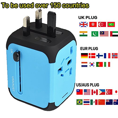 Cube Plug,Universal Travel Adapter Elektrische Stecker Sockets Converter UK/EU/US/AU, mit Dual USB Ladekabel 2,4 A LED-Betriebsanzeige Elektrische Stecker UK EU US AU International Travel Plug Adapter Laden (blau)