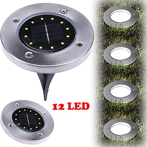12LED Solar Power Buried Licht, Xshuai 12LED Solar Power Buried Licht unter Boden Lampe Outdoor Pfad Weg Garten Terassendielen (Silber) (Garten Stick Light)