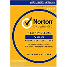 Norton Security Deluxe 2019 5 Geräte 1 Jahr PC/Mac/iOS/Android Download, Aktivierungscode per Post