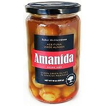 AMANIDA GOURMET - Aceitunas Verdes Aliñadas Con Hueso - tarros de 580 gr (Pack 12)