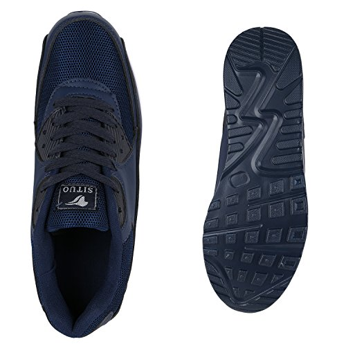 Herren Sportschuhe Laufschuhe Sneakers Runners Profilsohle Dunkelblau Weiß