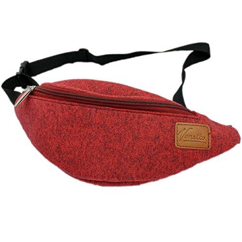 Gürteltasche Bauchtasche Hüfttasche Tasche Wandertasche Sporttasche Trekking Wandern bag aus Filz mit Echtleder-Applikationen (Grau) Rot meliert