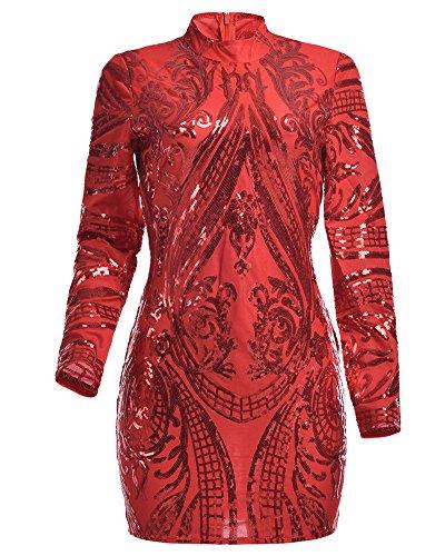 Damen Slim Kurze Pailletten Kleider Langarm Bodycon Kleid Mit Rundkragen Rot M - 3