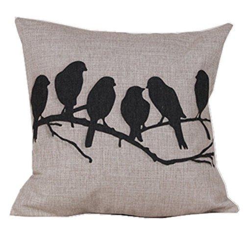 Pillo Fall (ourbest Baumwolle Leinen Quadratisch dekorativer Überwurf-Kissenbezug Vogel Ast mit Vogelkäfig 45,7x 45,7cm)