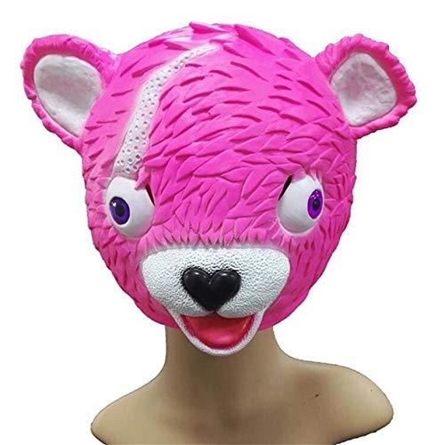 (LCLrute Halloween Maskerade Spielzeug Kuscheln Team Anführer Fortnite Pink Bear Spiel Maske schmelzendes Gesicht Erwachsenen Latex Kostüm Spielzeug)