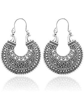 2LIVEfor Ohrringe lang hängend Silber Tropfenform Ohrringe Ethno in Tropfenform verziert Ohrringe Bohemian Vintage...