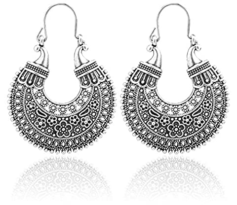 2LIVEfor Gorgeous Earring Ethnic Large Decorated Earrings Bohemian Vintage Long Pendant Antique Style