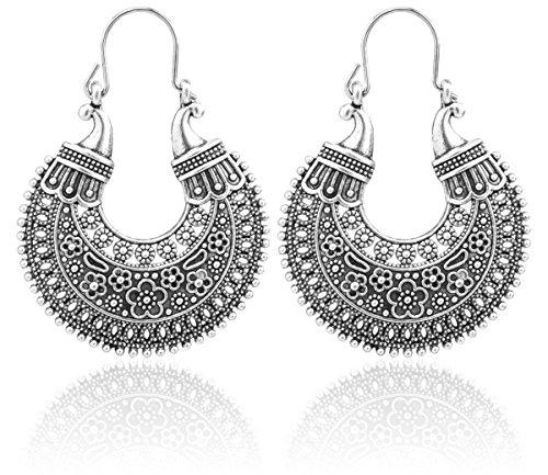 2LIVEfor Traumhafte Ohrringe Ethno Gross verziert Ohrringe Bohemian Vintage Ohrringe lang Hängend Antik Style Silber Ornament