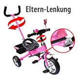 M&G Techno Kinder Dreirad Kinderfahrrad Fahrrad Kinderdreirad ab 2 Jahre Kinderfahrzeug - Lenkstange Servolenkung Schaumgummi (Pink)