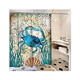 SonMo Duschvorhang Marinestil Meerestiere Polyester Krabbe Anti-Bakteriell Anti-Schimmel Wasserdichtbad Vorhang für Badewanne Badezimmer mit Duschvorhangringen Verdicken 175×180CM