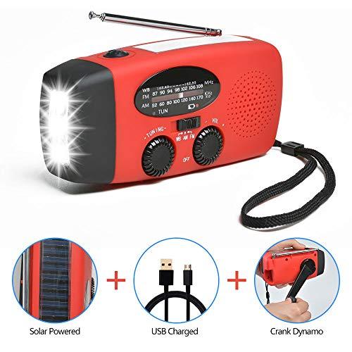 Odoland Solar Radio Multifunktion Outdoor Radio -Taschenlampe+Radio+Powerbank Handy-Lader, tragbar Kurbel/Dynamo+Solar+Standard/Mini USB, Kurbelradio FM/AM Notfallradio für Wandern,Camping,Ourdoor,Notfall
