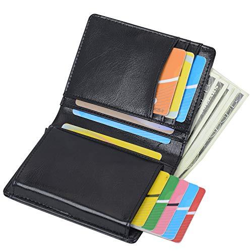 RFID Carte de Crédit Titulaire de Automatique Pop-up en Aluminium Blocage Étui 100% Cuir véritable Entreprise Slim Mini Porte-Monnaie (Noir)