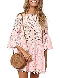 4a7517dca3ee Missy Chilli Damen Kleid Kurz Sommer Elegant Langarm O Ausschnitt Baumwolle  Spitze Mini Kleid Knielangkleid…