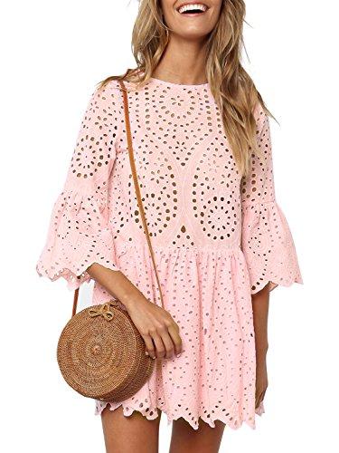 (Missy Chilli Damen Kleid Kurz Sommer Elegant Langarm O Ausschnitt Baumwolle Spitze Mini Kleid Knielangkleid Dress mit Trompetenärmel Rosa)