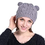 HaoLiao Cap, Imitation Cat Ears hat Damen Twist Beret, Herbst Winter im Freien, Windproof und Cold-Resistant Knit Caps,Gray