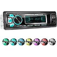 XOMAX XM-R265 Autoradio con Bluetooth I Ricarica cellulare tramite la 2a porta USB I Ottica in carbonio I 7 LED colori, USB, SD, MP3, AUX, 1 DIN