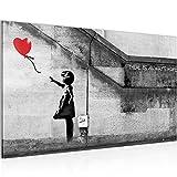 Bild Banksy - Ballon Girl Street Art Wandbild Vlies - Leinwand Bilder XXL Format Wandbilder Wohnzimmer Wohnung Deko Kunstdrucke 70 x 40 cm Rot Grau 1 Teilig -100% MADE IN GERMANY - Fertig zum Aufhängen 301614a