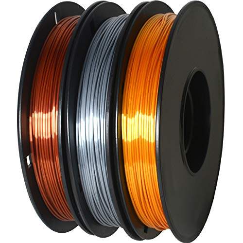 GIANTARM Silk Filament PLA 1.75mm,3D Drucker PLA Filament,0.5 kg pro Spule, 3 Spulen (Gold + Silber + Kupfer)