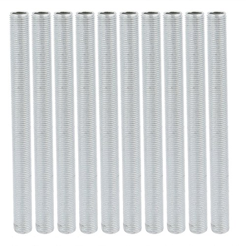 sourcing map 10Pcs M10 1mm paso roscado zinc tubo pezón partes de la lámpara 115mm de largo