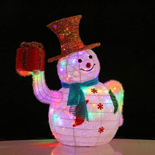 YANXS Weihnachten Deko LED Schneemann mit Goldhut Geschenkbox Figur Beleuchtet Warm Bunte Lichter Metall Eisen Rahmen Woollen für Innen Außen,Bunt