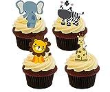 Jungle/Zoo Tiere Essbare Kuchen Dekorationen–Stand-Up Wafer Cupcake Topper, 12er-Pack