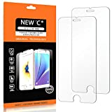 Iphone 6 Best Deals - Pack de 2 Verre Trempé iPhone 6 / 6S, NEWC® Film Protection en Verre trempé écran Protecteur - ANTI RAYURES - SANS BULLES D'AIR -Ultra Résistant (0,33mm HD Ultra transparent ) Dureté 9H Glass Screen Protector pour iPhone 6S/6