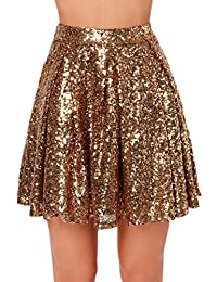 32156073fb5 Zamtapary Les Femmes Taille Haute Paillettes Mini Jupe Plissée en Sequins  Brillants Robe Swing