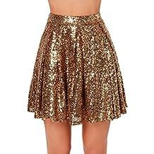 18d08b47fa40e Zamtapary Les Femmes Taille Haute Paillettes Mini Jupe Plissée en Sequins  Brillants Robe Swing