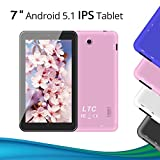 LeaningTech 7 Zoll 1.3GHz Android Google 5.1 IPS Tablet PC tablett Pad 8GB WiFi Quad Core Dual Kamera 1024x600 IPS Bildschirm Allwinner A33 DDR3 Auch für Kinder Lern/Spiel Rosa