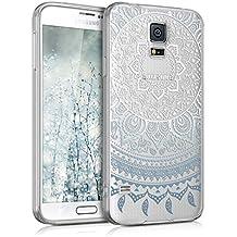 kwmobile Funda transparente para Samsung Galaxy S5 / S5 Neo / S5 LTE+ / S5 Duos con diseño IMD y marco de silicona TPU con parte trasera de plástico - transparente blanda para móvil carcasa protectora bumper Diseño sol indio