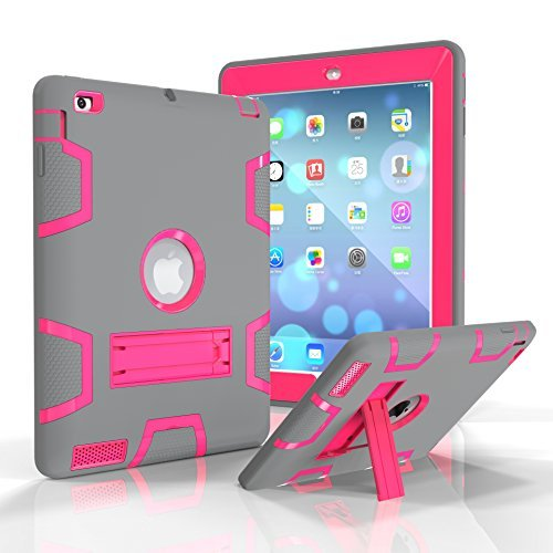 iPad 2/3/4 Fall, beimu Ständer Funktion [Tire Serie] Rugged Shock absorbierenden Drei Schicht Hard Gummi Schutz Case Cover mit Stylus für Apple iPad 2./3./4. Generation, 9.7 inch, Grey+Rose Protector Hard Case Gummi