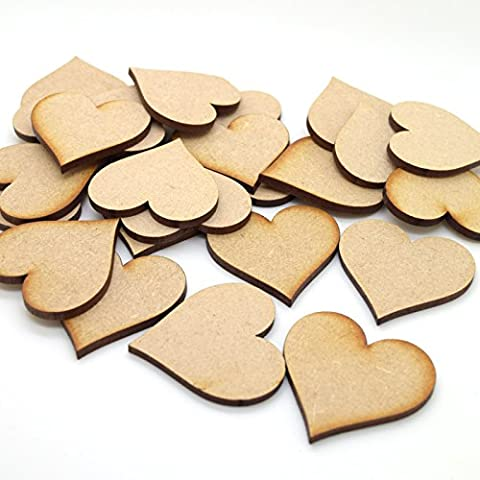 Pack of 25 MDF Hearts Wooden Cut Out Craft Shape,