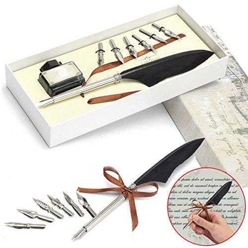 Tutoy Antike Gänsefeder Quill Dip Hochzeit Signing Pen & Ink Mit 6 Nibs Set Geschenkbox