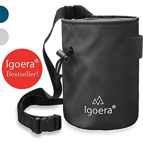 Igoera Chalkbag zum Klettern und Bouldern | robust und staubdicht | inkl. verstellbarem Befestigungsgurt | Kreidebeutel für besseren Grip und mehr Sicherheit (Schwarz)