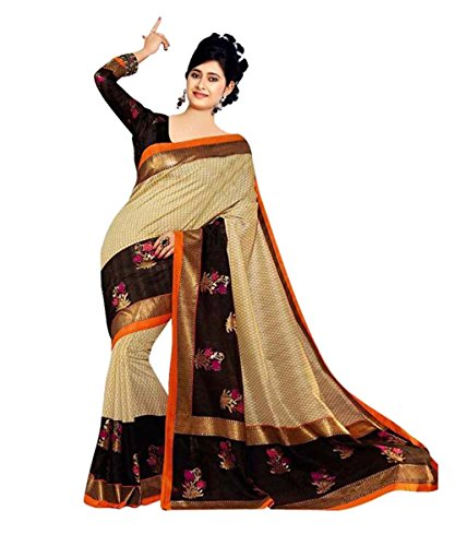 Glory Sarees Women\'s Art Silk Saree (kalapi21_Beige)