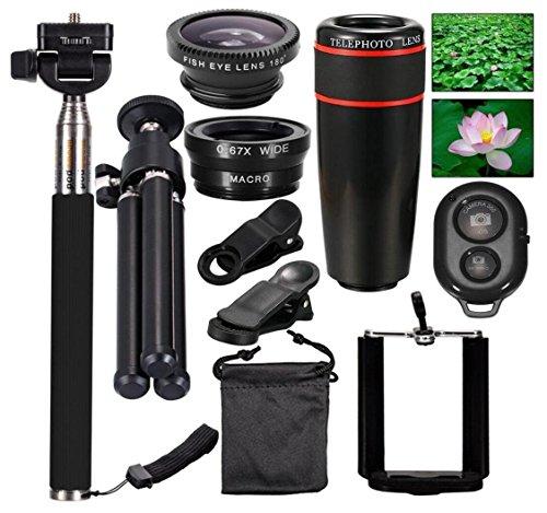10-in-1-Kamera-Objektiv-Kit,CYGG 12X Teleobjektiv + Fischaugen Objektiv + Weitwinkel + Makro Objektiv Selfie Stick Einbeinstativ + Bluetooth Fernbedienung + Mini Stativ für Clip für iPhone 7/7 Plus/Sa